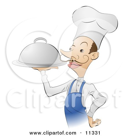 French Male Chef Carrying A Silver Serving Platter Of Food Clipart Illustration