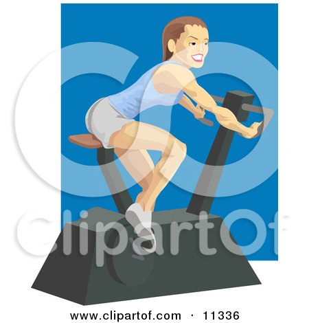 Fit and Healthy Young Woman Doing Cardio Exercise While Using a Stationary Bike in a Fitness Gym Clipart Illustration by AtStockIllustration