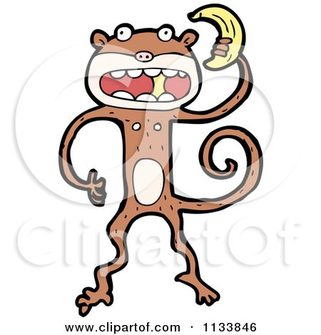 Cartoon Of A Monkey Holding A Banana - Royalty Free Vector Clipart by lineartestpilot
