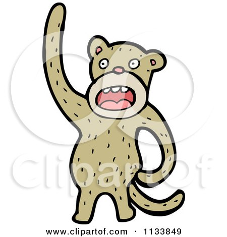 Cartoon Of A Brown Monkey - Royalty Free Vector Clipart by lineartestpilot