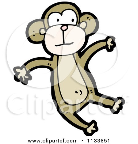 Cartoon Of A Brown Monkey 2 - Royalty Free Vector Clipart by lineartestpilot