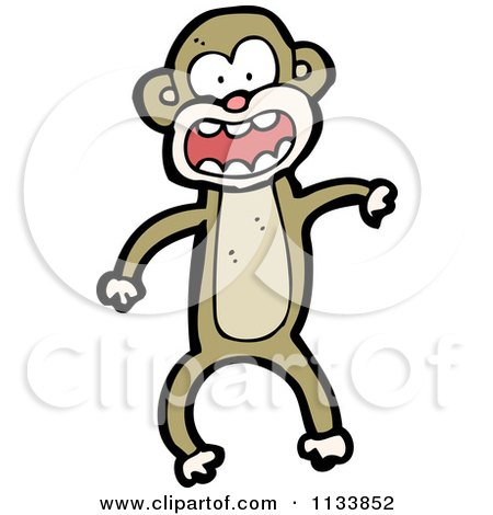 Cartoon Of A Brown Monkey 3 - Royalty Free Vector Clipart by lineartestpilot