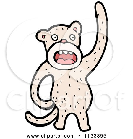 Cartoon Of A White Monkey - Royalty Free Vector Clipart by lineartestpilot