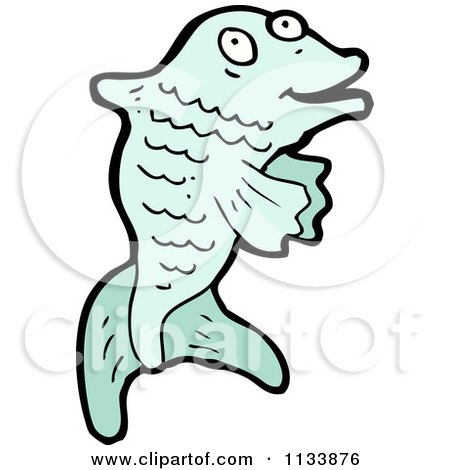 Cartoon Of A Blue Fish - Royalty Free Vector Clipart by lineartestpilot
