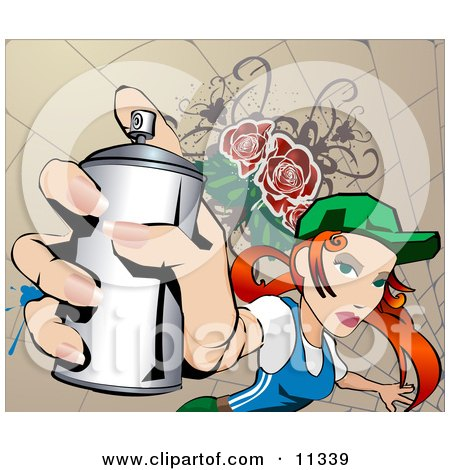 Young Woman Spray Painting a Wall to Make Graffiti Clipart Illustration by AtStockIllustration