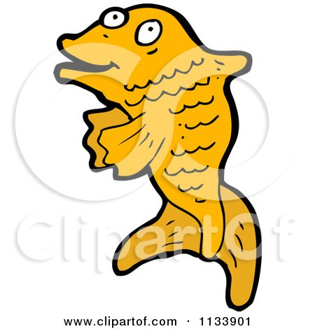 Cartoon Of An Orange Koi Fish - Royalty Free Vector Clipart by lineartestpilot