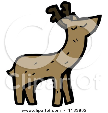 Cartoon Of A Deer - Royalty Free Vector Clipart by lineartestpilot