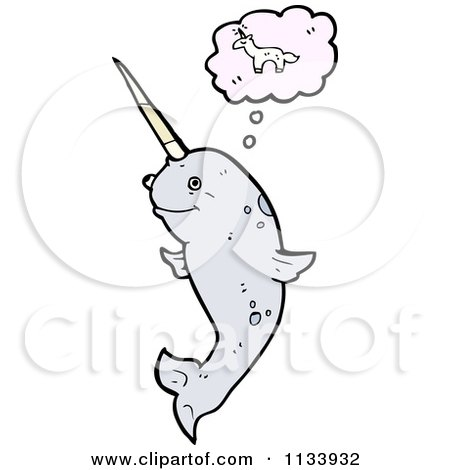 Cartoon Of A Thinking Narwhal - Royalty Free Vector Clipart by lineartestpilot