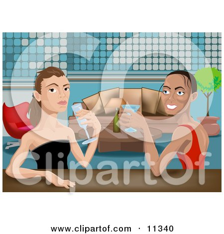 Friends, or a Lesbian Couple, Drinking Cocktails at an Upscale Bar Clipart Illustration by AtStockIllustration