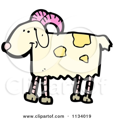 Cartoon Of A Goat 2 - Royalty Free Vector Clipart by lineartestpilot