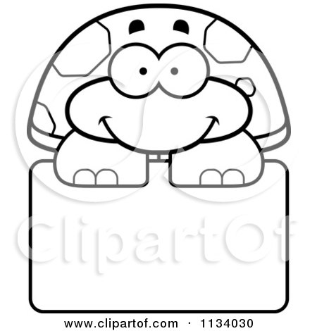 Cartoon Clipart Of An Outlined Happy Tortoise Turtle Over A Sign - Black And White Vector Coloring Page by Cory Thoman