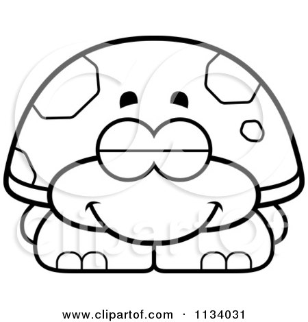 Cartoon Clipart Of An Outlined Sleeping Tortoise Turtle - Black And White Vector Coloring Page by Cory Thoman