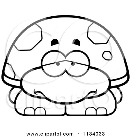 Cartoon Clipart Of An Outlined Depressed Tortoise Turtle - Black And White Vector Coloring Page by Cory Thoman
