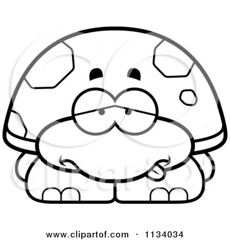 Cartoon Clipart Of An Outlined Sick Tortoise Turtle - Black And White Vector Coloring Page by Cory Thoman