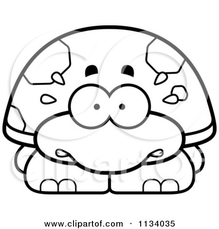 Cartoon Clipart Of An Outlined Scared Tortoise Turtle - Black And White Vector Coloring Page by Cory Thoman