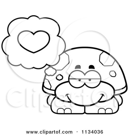 Cartoon Clipart Of An Outlined Tortoise Turtle In Love - Black And White Vector Coloring Page by Cory Thoman