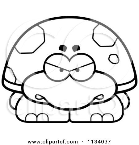 Cartoon Clipart Of An Outlined Angry Tortoise Turtle - Black And White Vector Coloring Page by Cory Thoman