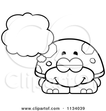 Cartoon Clipart Of An Outlined Dreaming Tortoise Turtle - Black And White Vector Coloring Page by Cory Thoman