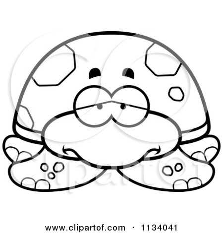 Cartoon Clipart Of An Outlined Depressed Sea Turtle - Black And White Vector Coloring Page by Cory Thoman