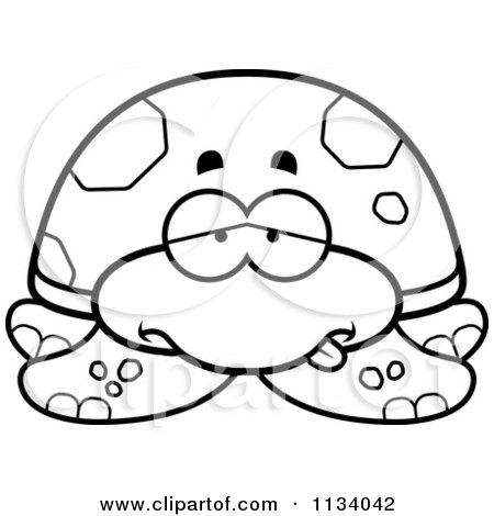 Cartoon Clipart Of An Outlined Sick Sea Turtle - Black And White Vector Coloring Page by Cory Thoman
