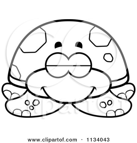 Cartoon Clipart Of An Outlined Sleeping Sea Turtle - Black And White Vector Coloring Page by Cory Thoman