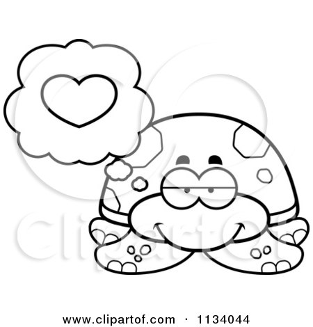 Cartoon Clipart Of An Outlined Sea Turtle In Love - Black And White Vector Coloring Page by Cory Thoman