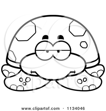 Cartoon Clipart Of An Outlined Bored Sea Turtle - Black And White Vector Coloring Page by Cory Thoman