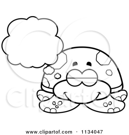 Cartoon Clipart Of An Outlined Dreaming Sea Turtle - Black And White Vector Coloring Page by Cory Thoman