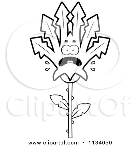 Cartoon Clipart Of An Outlined Scared Marijuana Pot Leaf Mascot - Black And White Vector Coloring Page by Cory Thoman
