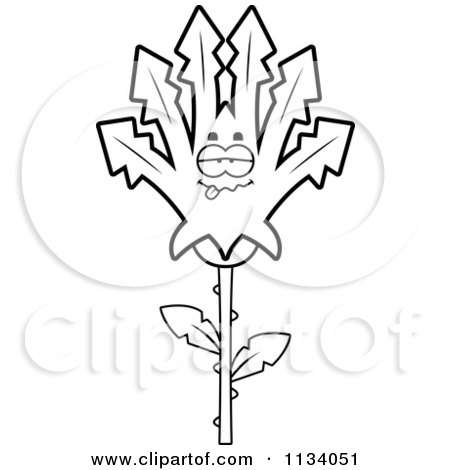 Cartoon Clipart Of An Outlined Sick Marijuana Pot Leaf Mascot - Black And White Vector Coloring Page by Cory Thoman