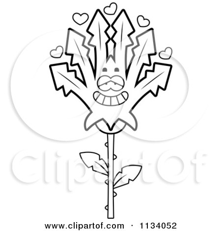 Cartoon Clipart Of An Outlined Marijuana Pot Leaf Mascot In Love - Black And White Vector Coloring Page by Cory Thoman