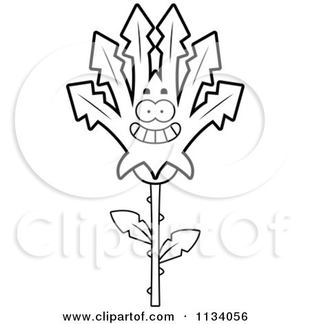 Cartoon Clipart Of An Outlined Happy Marijuana Pot Leaf Mascot - Black And White Vector Coloring Page by Cory Thoman