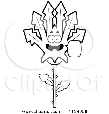 Cartoon Clipart Of An Outlined Talking Marijuana Pot Leaf Mascot - Black And White Vector Coloring Page by Cory Thoman