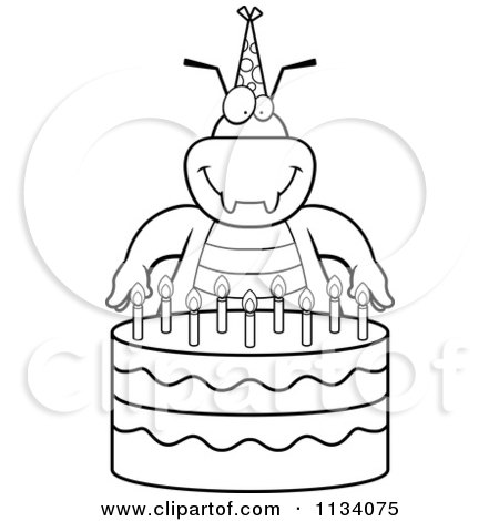 Cartoon Birthday Cake on Cartoon Clipart Of An Outlined Bug With A Birthday Cake   Black And
