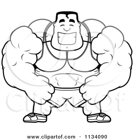 Cartoon clipart of an outlined happy buff bodybuilder - Cartoon body builder ...