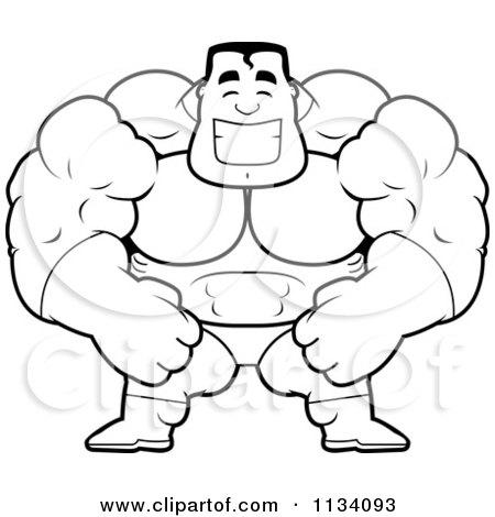 cartoon clipart of an outlined happy buff super hero guy black and rh clipartof com Buffed Up a Guy Cartoon Fit Guy Cartoon