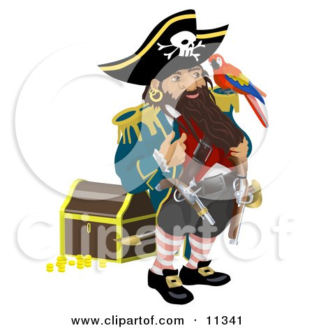 Pirate Standing by a Treasure Chest and Talking to the Bird on His Shoulder Clipart Illustration by AtStockIllustration
