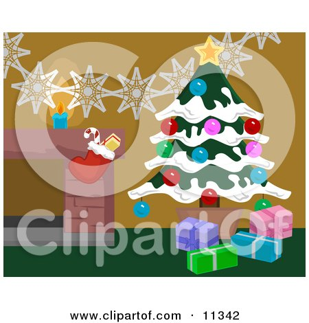 Christmas Decorations by a Fireplace in a Home, Christmas Tree and Stocking Posters, Art Prints