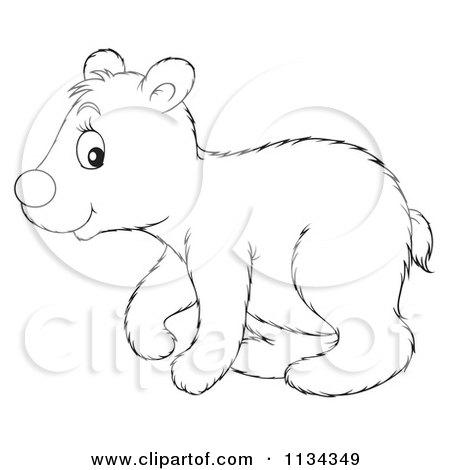 Cartoon Of A Cute Outlined Polar Bear - Royalty Free Clipart by Alex Bannykh