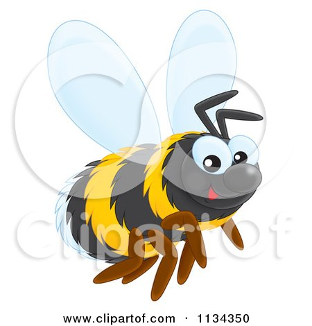 Cartoon Of A Cute Bee - Royalty Free Clipart by Alex Bannykh