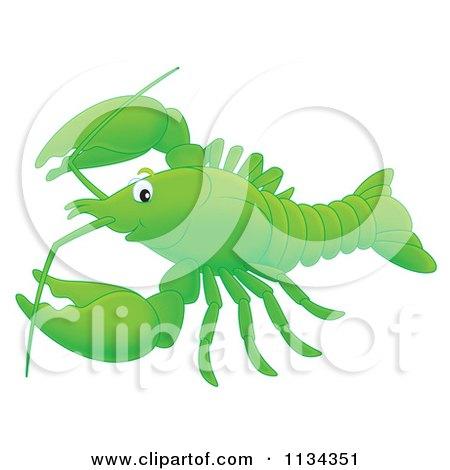 Cartoon Of A Cute Green Lobster Or Crawdad - Royalty Free Clipart by Alex Bannykh