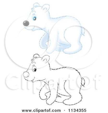 Cartoon Of A Cute Outlined And Colored Polar Bear - Royalty Free Clipart by Alex Bannykh