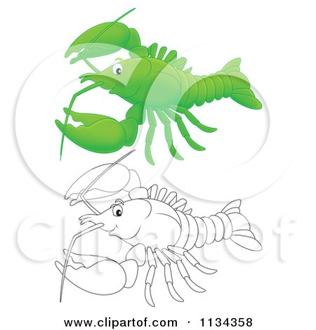Cartoon Of A Cute Outlined And Colored Lobster Or Crawdad - Royalty Free Clipart by Alex Bannykh