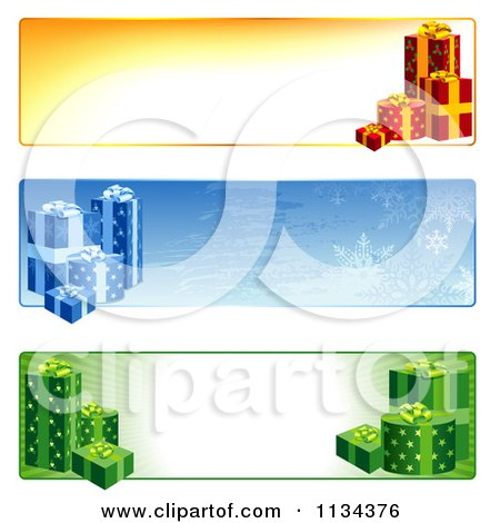 Clipart Of Christmas Gift Website Banners - Royalty Free Vector Illustration by dero