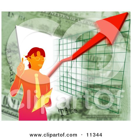 Businesswoman Standing by a Graph During a Presentation Clipart Illustration by AtStockIllustration