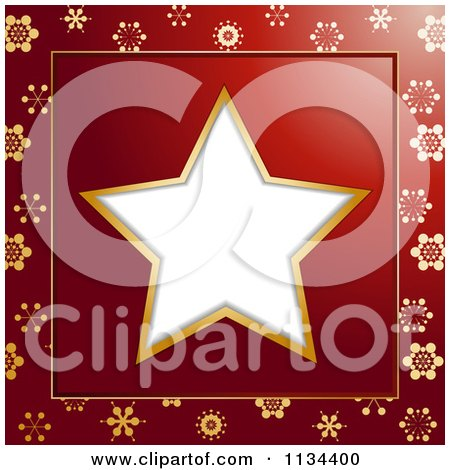 Clipart Of A White Christmas Star Frame On A Red And Gold Snowflake Background - Royalty Free Vector Illustration by elaineitalia