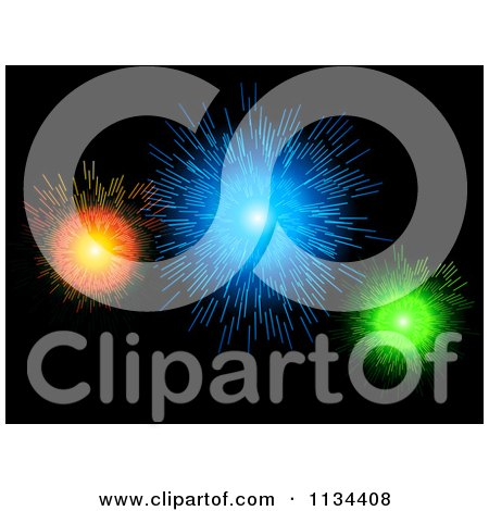 Clipart Of A Bursts Of Colorful Fireworks On Black - Royalty Free Vector Illustration by elaineitalia