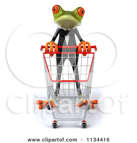 Clipart Of A 3d Formal Springer Frog With A Shopping Cart 1 - Royalty Free CGI Illustration by Julos