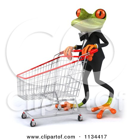 Clipart Of A 3d Formal Springer Frog With A Shopping Cart 2 - Royalty Free CGI Illustration by Julos