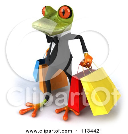 Clipart Of A 3d Formal Springer Frog Carrying Shopping Bags - Royalty Free CGI Illustration by Julos